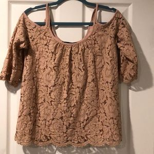 Lace top with cut out shoulders